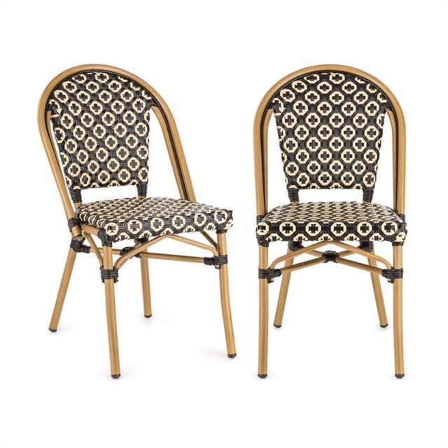 blumfeldt montbazin bl chaises empilable cadre aluminium polyrotin noire creme