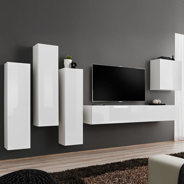 composition tv murale blanc laque forenza 3