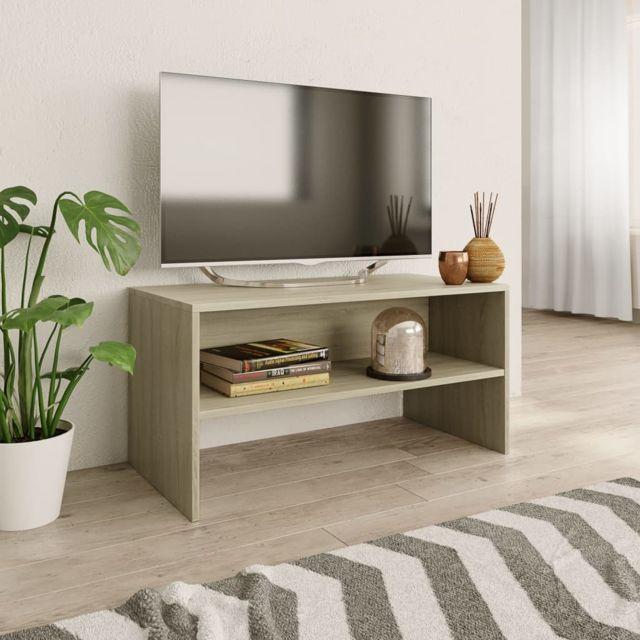 vidaxl meuble tv chene sonoma 80 x 40 x 40 cm agglomere