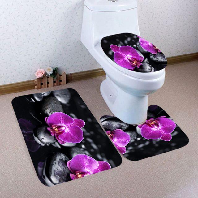 3pcs tapis de piedestal antiderapant de salle de bain de noel couvercle de