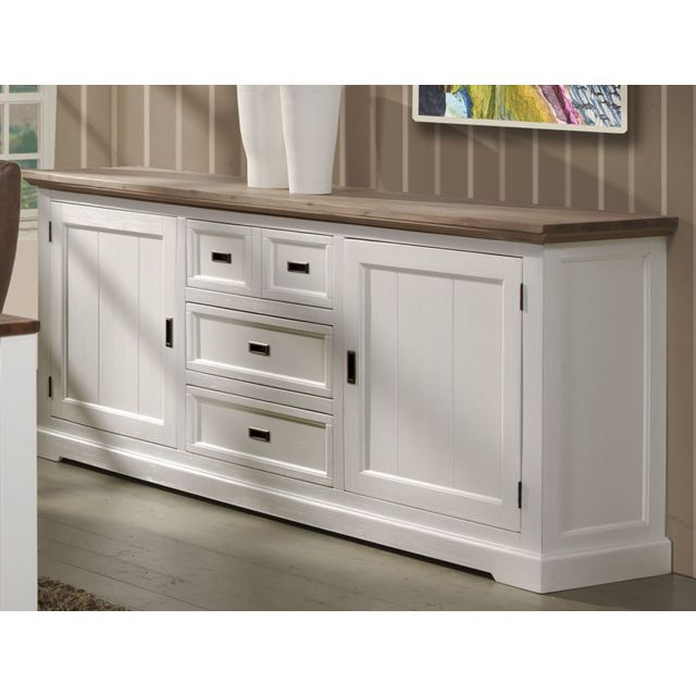 grand buffet bois et blanc 225 cm estale