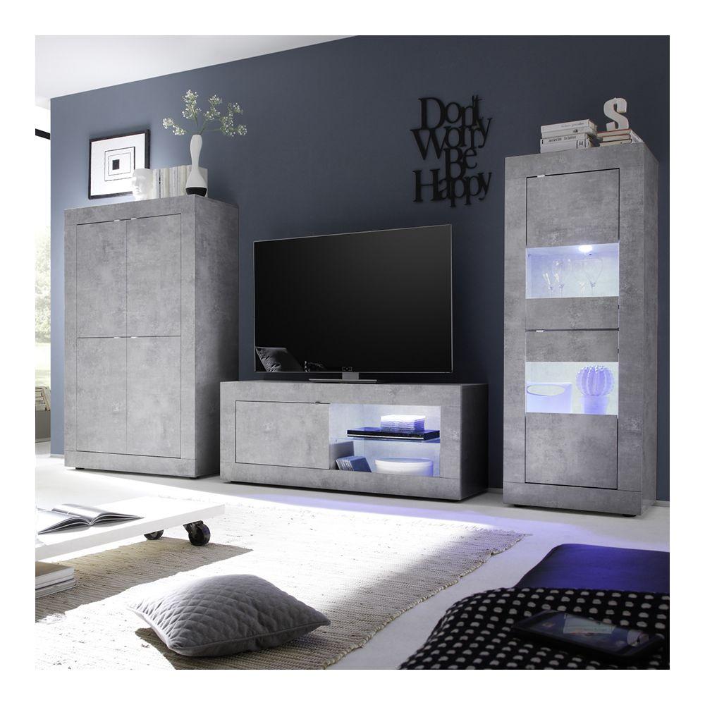 kasalinea meuble tv lumineux 140 cm design effet beton gris ariel 4