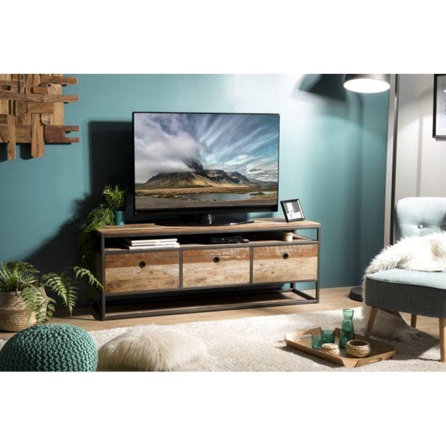 meuble tv 3 tiroirs teck recycle acacia mahogany et metal