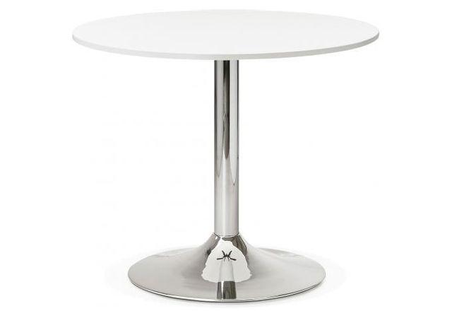 table ronde bois blanche pied metal d90 albury