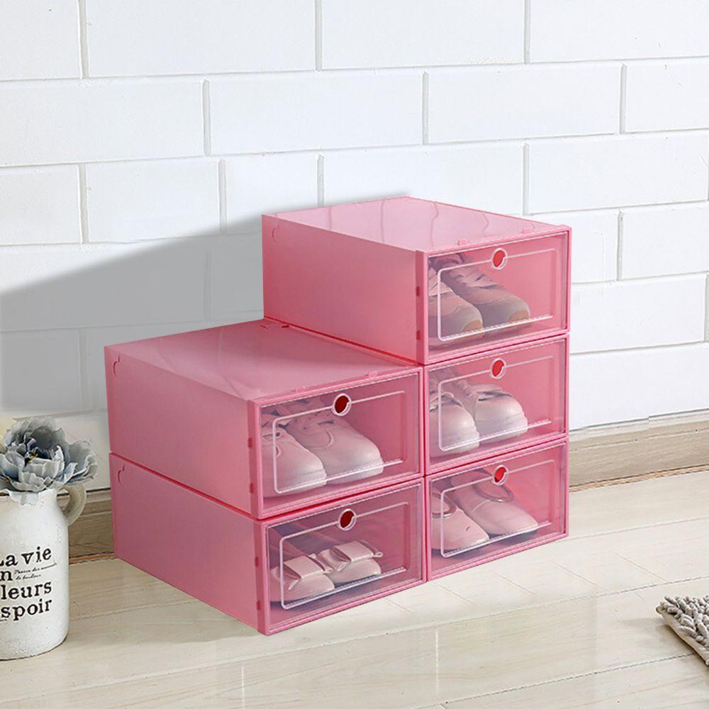 generic boite a chaussures pliable de rangement en plastique etui transparent organisateur empilable 3 pieces rouge