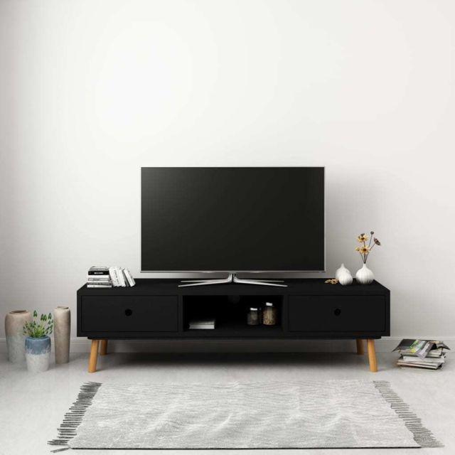 uco meuble tv noir 120 x 35 x 35 cm pin massif