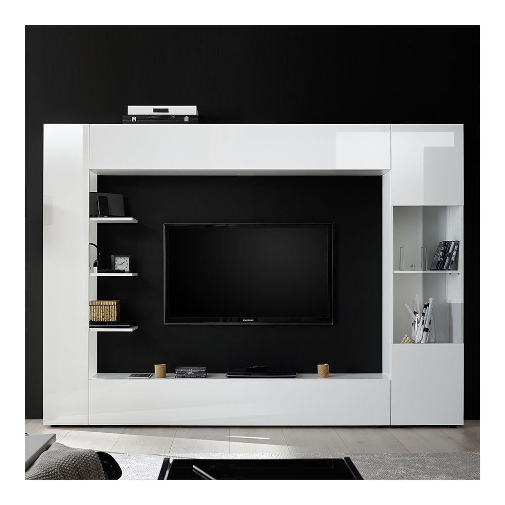 kasalinea meuble tv mural laque blanc soprano
