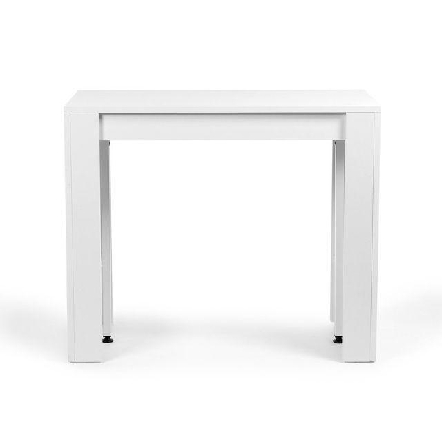 table console extensible bois blanc avec 5 rallonges extenso