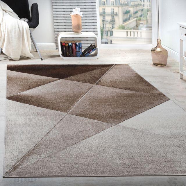 tapis design moderne motifs geometriques poils ras brun beige blanc chine