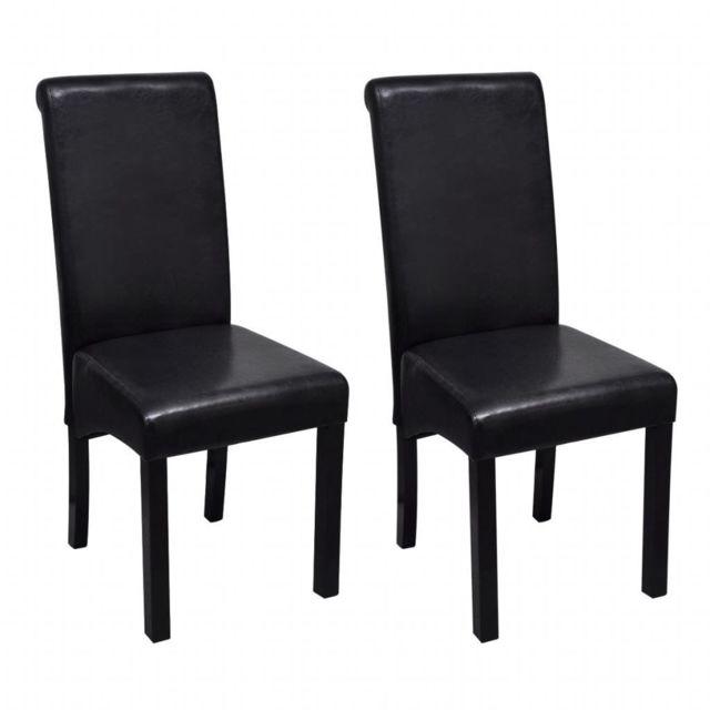 lot de deux chaises de salle a manger cuir synthetique noir 1902188
