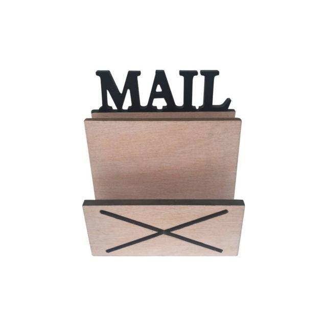 porte courrier range documents 2 compartiments bois 16x18x8 5