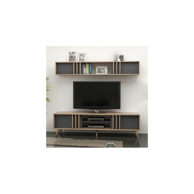 homemania meuble tv bren moderne avec portes etageres pour salon noyer