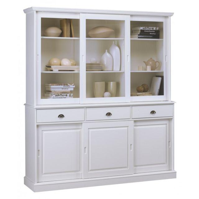 vaisselier blanc 6 portes coulissantes