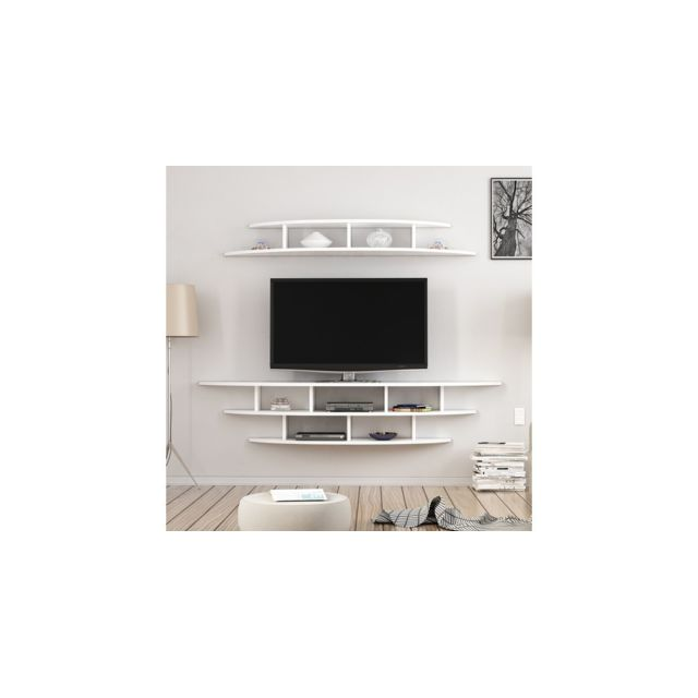 homemania meuble tv alvino moderne murale avec etageres pour salon blanc
