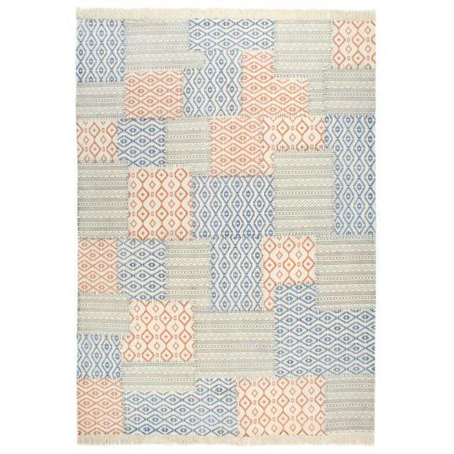 vidaxl tapis tisse a la main coton 200x290 cm imprime multicolore