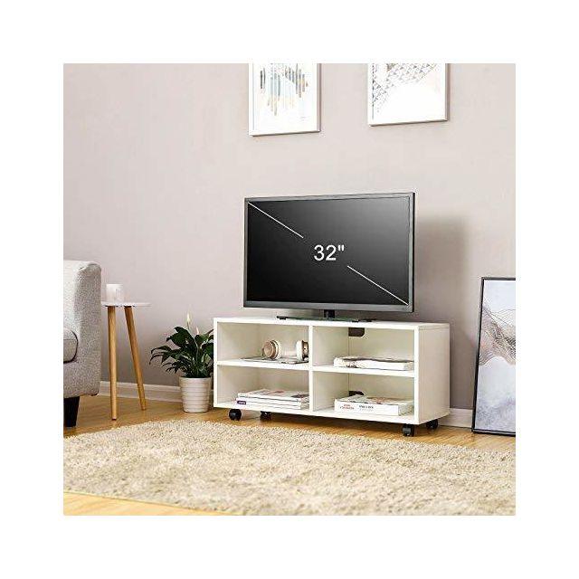 vasagle meuble tv mobile avec 4 compartiments et roulettes buffet bas ouvert