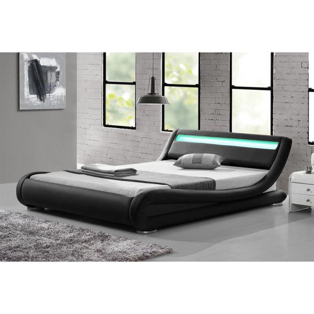 lit seattle structure de lit simili noir avec led integrees 140x190 cm