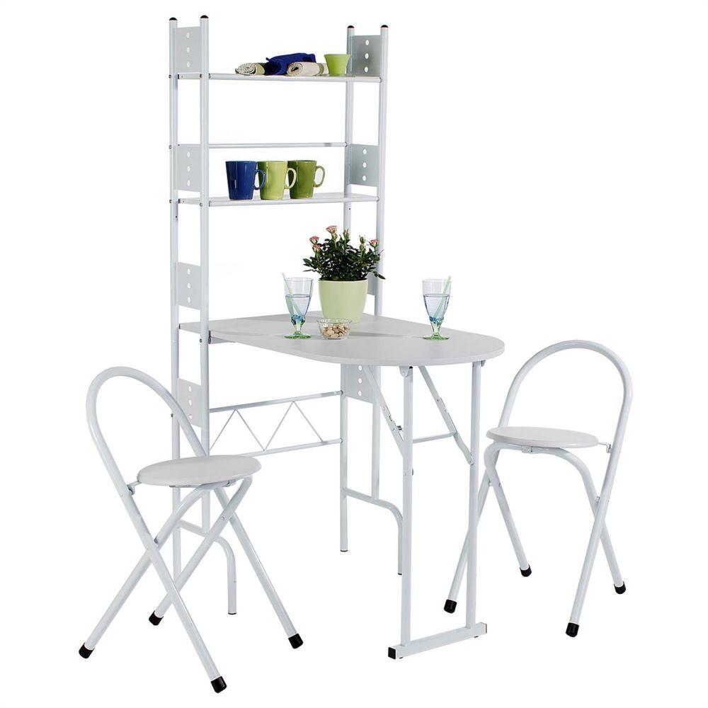 idimex ensemble jonathan avec table de cuisine comptoir pliable et 2 chaises tabourets en mdf blanc et structure en metal laque blanc