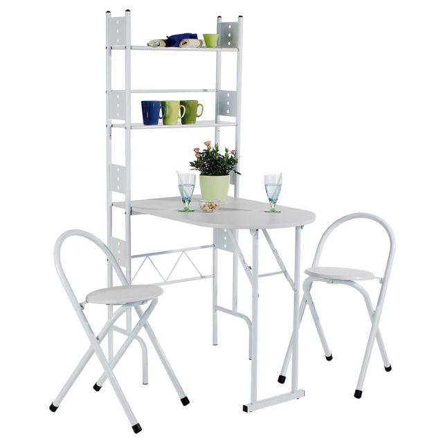 ensemble jonathan avec table de cuisine comptoir pliable et 2 chaises tabourets