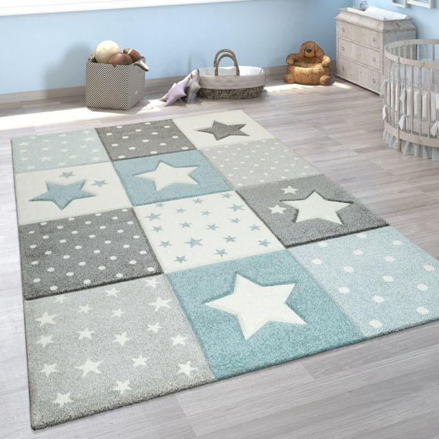 tapis chambre enfant moderne couleurs pastel carreaux etoile pois design en