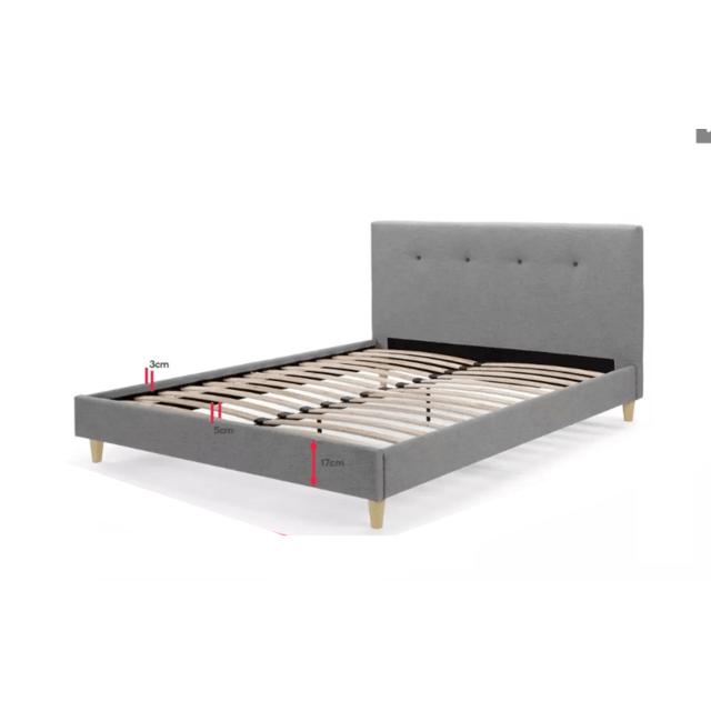 alex solide et confortable lit avec sommier tete de lit capitonnee noirs