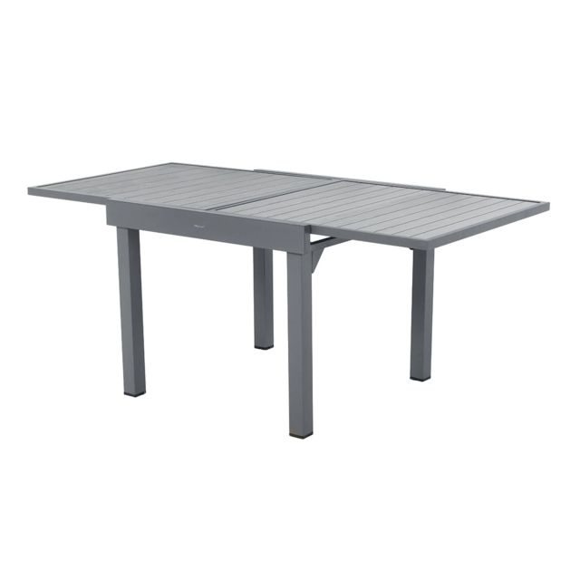 table extensible carree alu piazza 4 8 places gris basalte hesperide