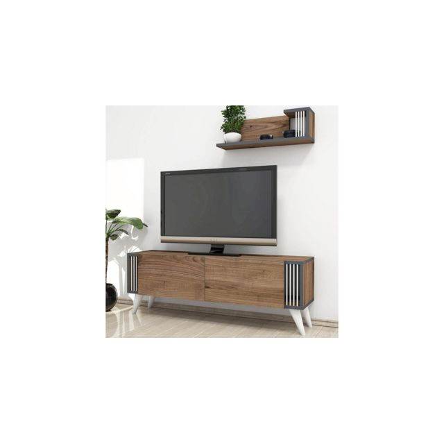 homemania meuble tv nicol moderne avec portes etageres noyer en bois 120