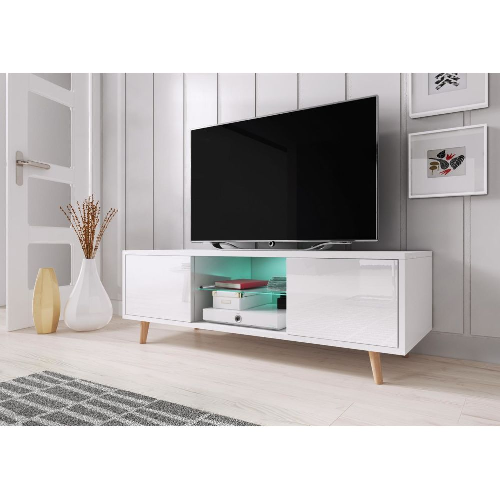 vivaldi vivaldi meuble tv sweden 140 cm blanc mat blanc brillant led style scandinave