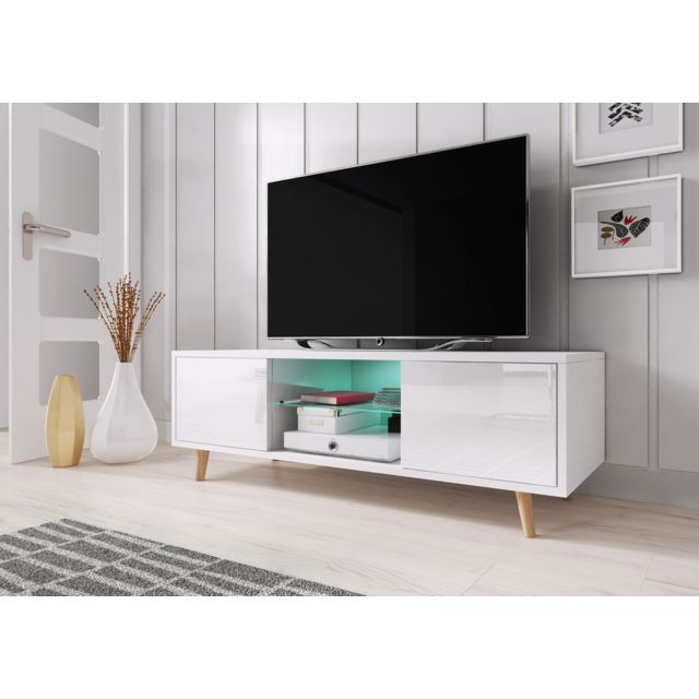 vivaldi meuble tv sweden 140 cm blanc mat blanc brillant led style