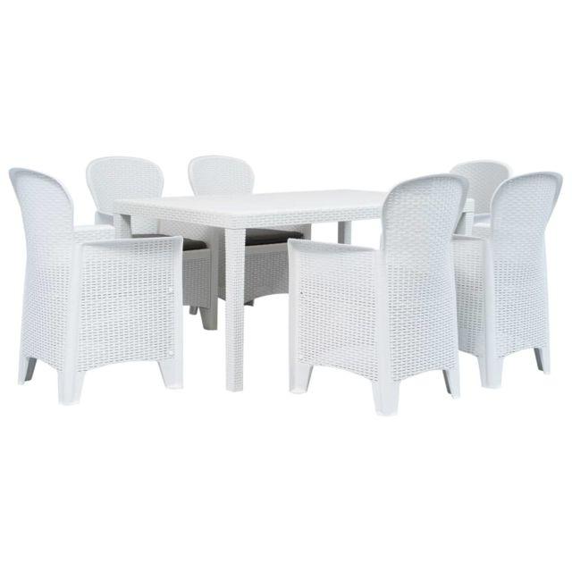 vidaxl meuble a diner d exterieur 7pcs plastique blanc aspect de rotin