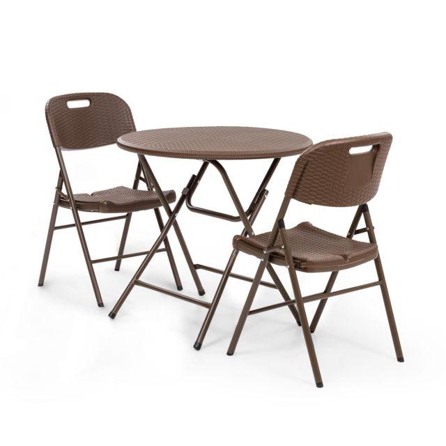 blumfeldt burgos salon de jardin 3 pieces table pliante 2 chaises cadre