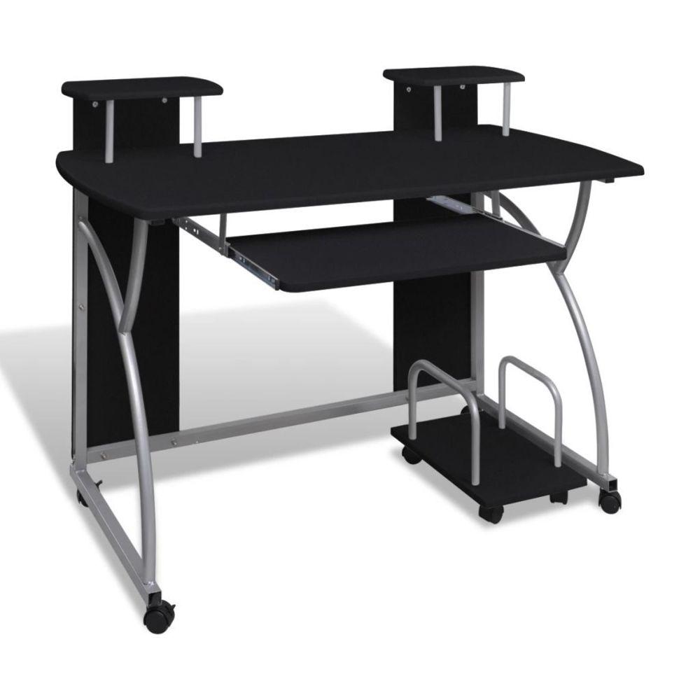 marque generique magnifique meubles de bureau ensemble bissau table de bureau noire pour ordinateur avec etagere