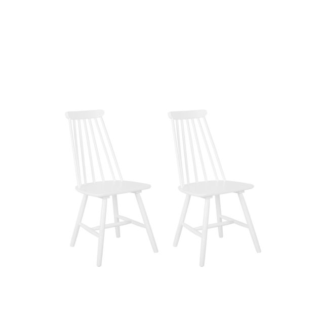 beliani lot de 2 chaises blanches en bois burbank blanc