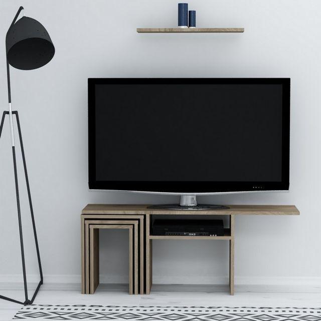 homemania peri meuble tv avec table basse portes etageres pour le salon