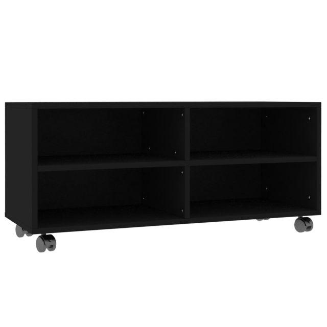 icaverne meubles tv ensemble meuble tv avec roulettes noir 90 x 35 x 35 cm