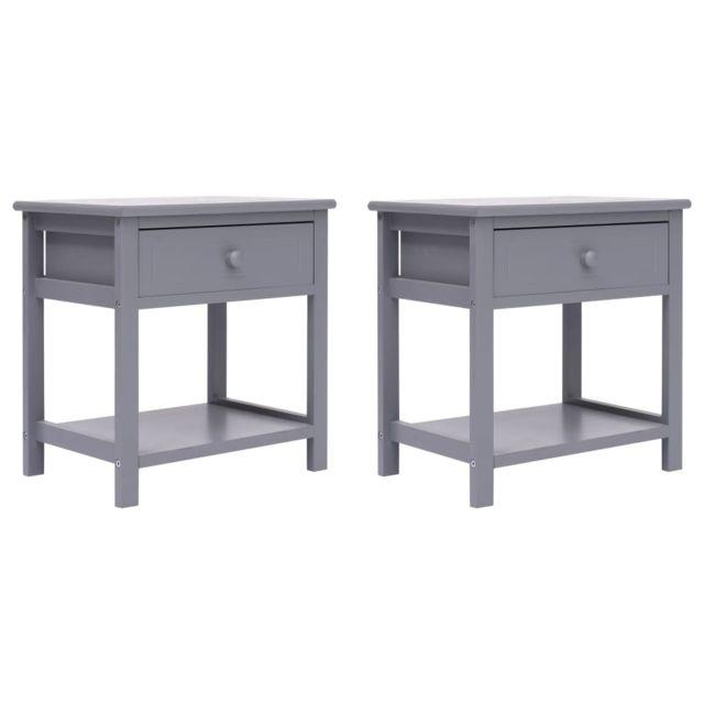 uco 2 pcs tables de chevet gris 40x29x42 cm bois de paulownia