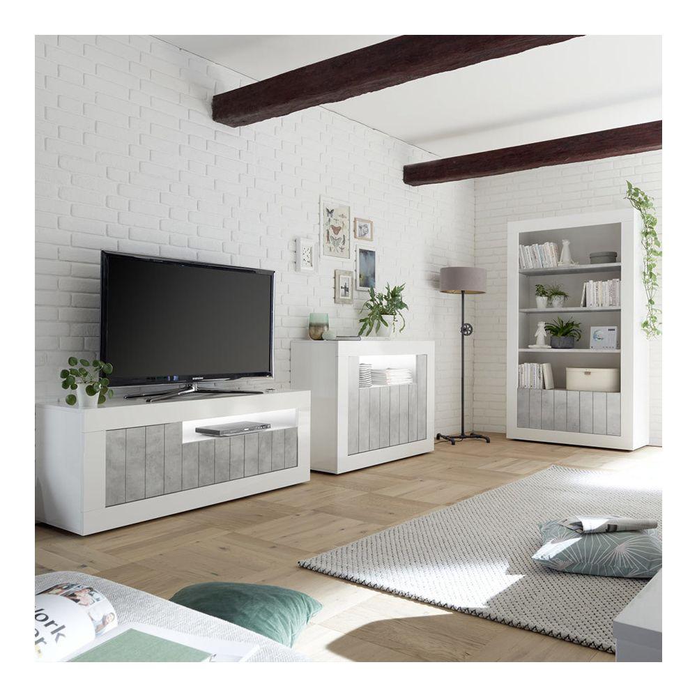 kasalinea meuble tv blanc et effet beton gris moderne mabel 5