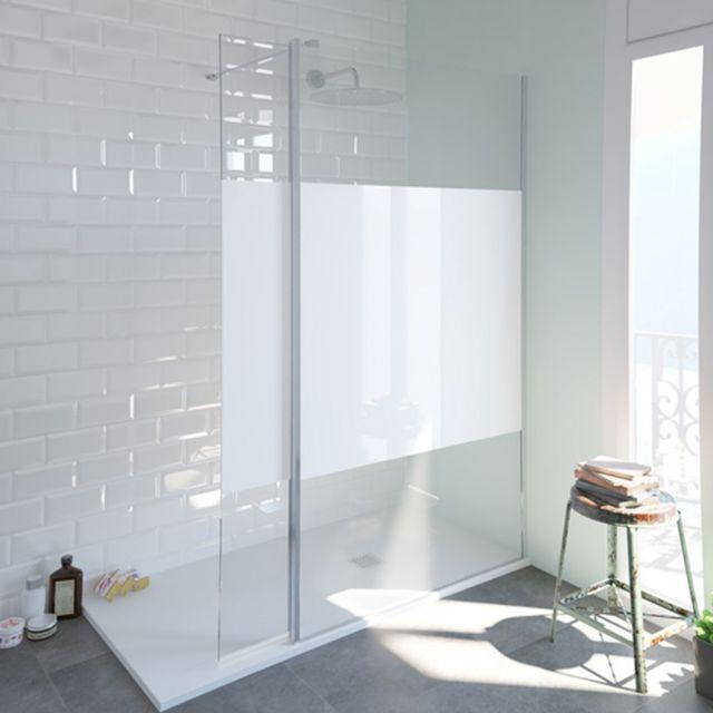 paroi de douche fixe single serigraphie en verre
