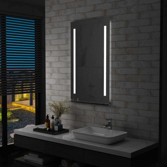 vidaxl miroir mural a led pour salle de bains avec etagere 60x100 cm