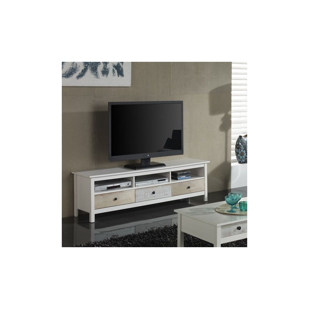 vs venta stock meuble tv alexia 3 tiroirs blanc et bicolore