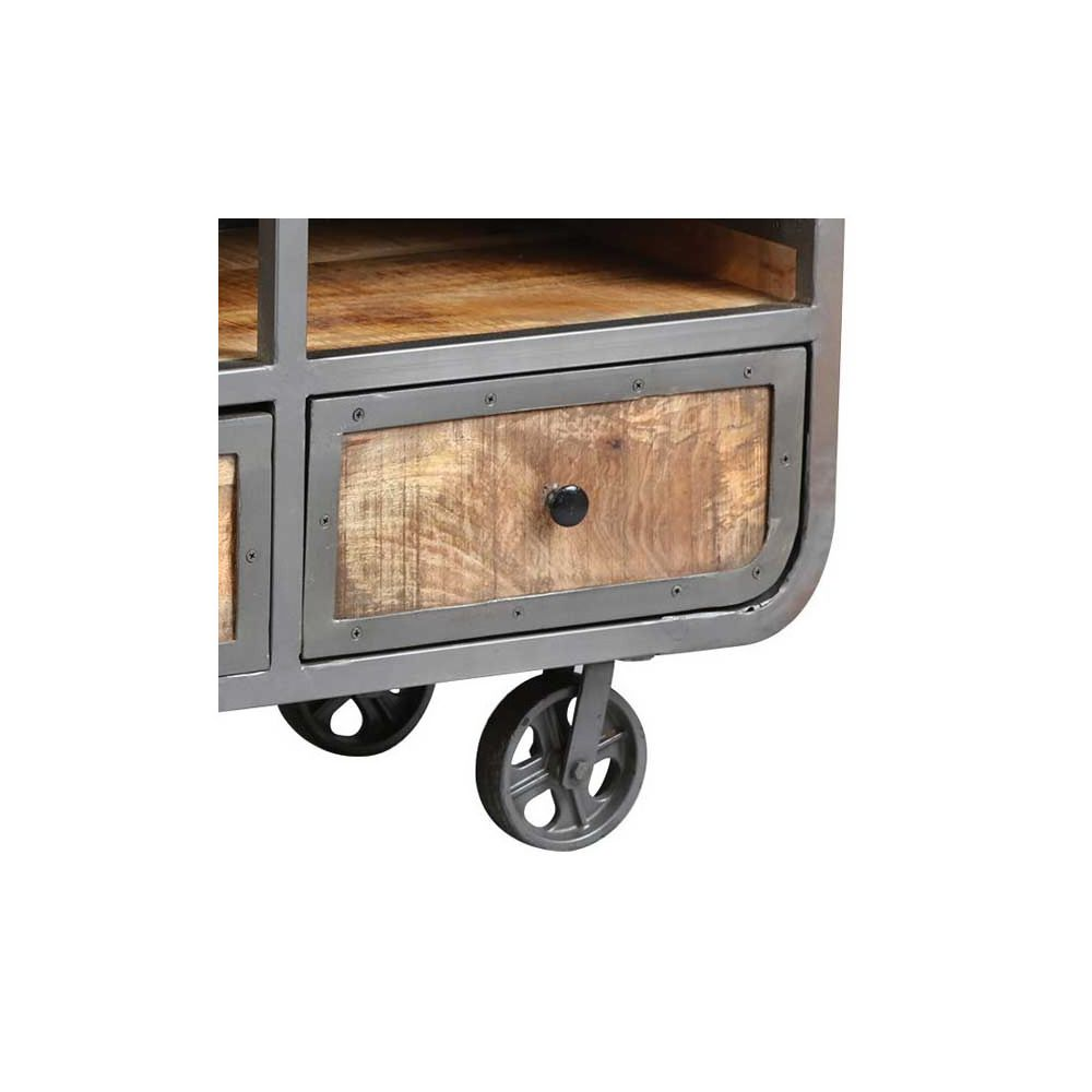 tousmesmeubles meuble tv 3 tiroirs acier bois massif chalerston