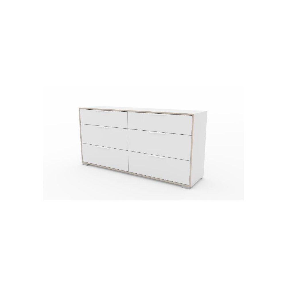 icaverne commode de chambre ligne double commode 6 tiroirs decor chene et blanc l 155 6 x p 39 1 x h 76 3 cm