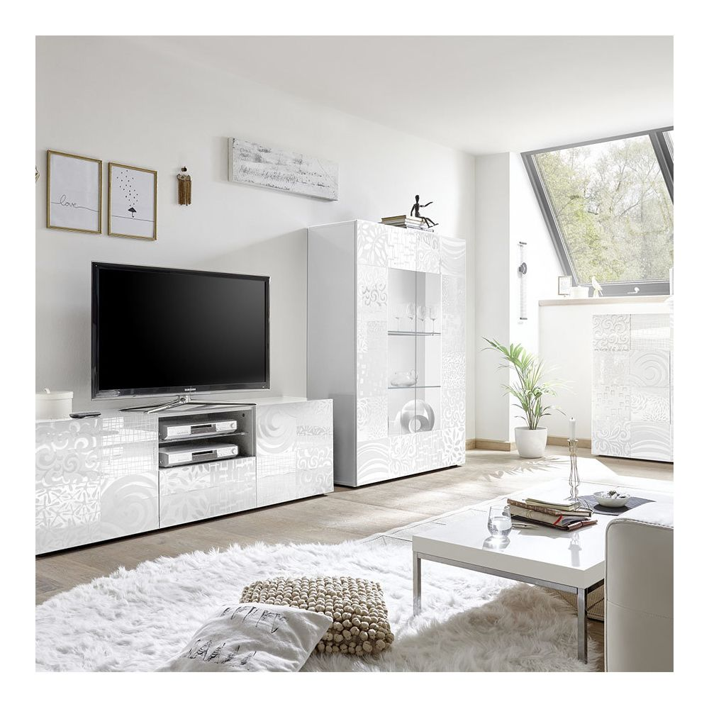 kasalinea grand meuble tv blanc laque design nerina