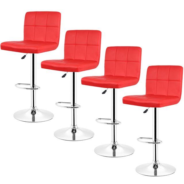 lot de 4 chaises de bar pied en metal pivotantes reglables en hauteur rouge