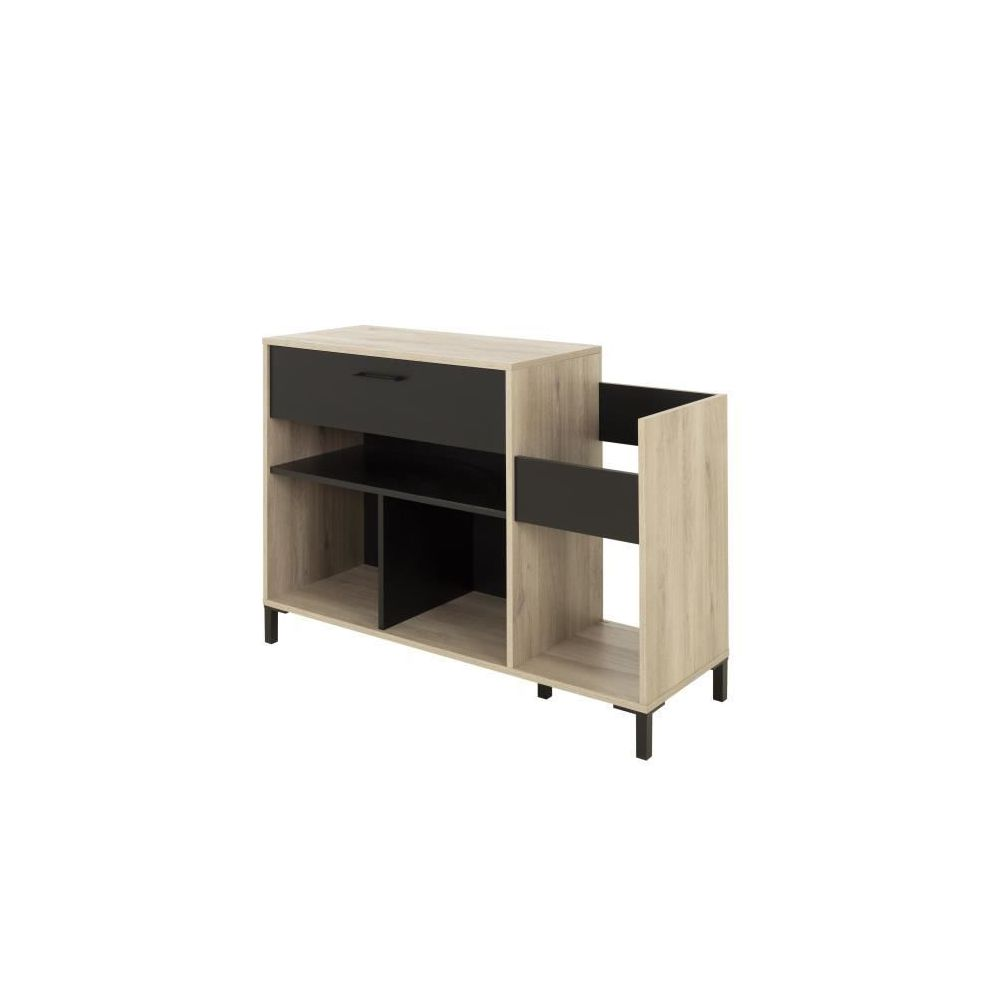 marque generique meuble tv meuble hi fi vinyle vintage meuble platine style urbain made in france decor chene l 115 x p 40 x h 81 cm