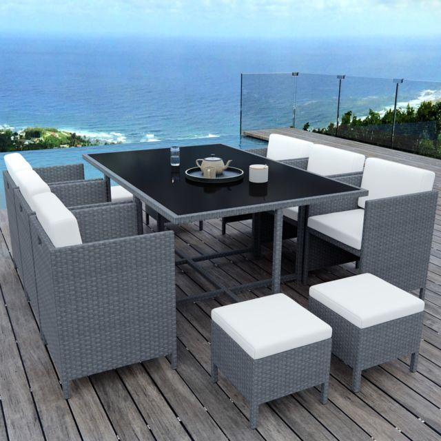 munga 10 places ensemble encastrable salon table de jardin resine tressee