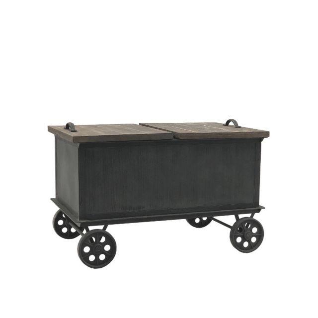 coffre sur roulettes table basse en fer et bois 80 50 cm x 50 cm
