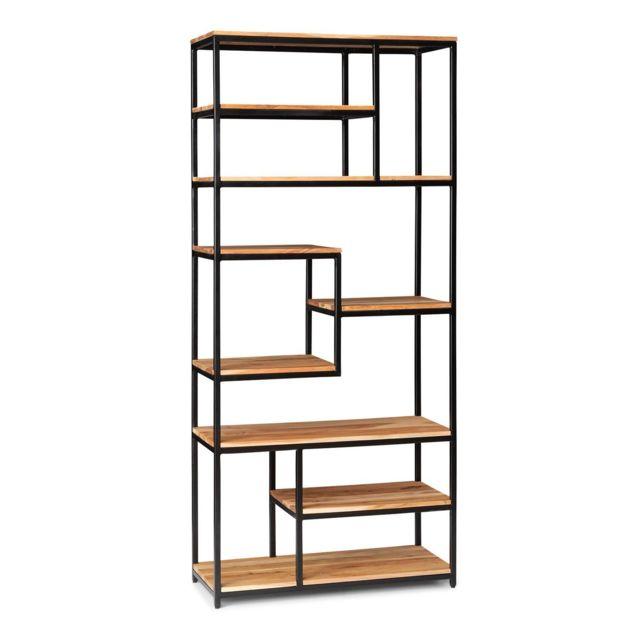 besoa lens etagere de rangement en bois d acacia 9 niveaux 85 x 190 5 x 35