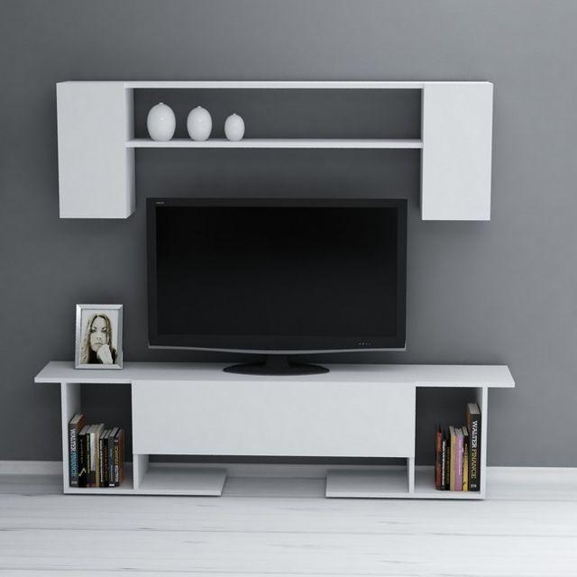 homemania kaan meuble tv avec table basse portes etageres pour le salon