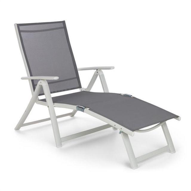 blumfeldt pomporto lounge chaise longue pvc pe aluminium 7 positions blanc gris
